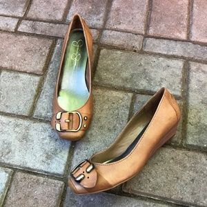 Jessica Simpson tan leather low wedge heels